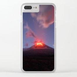 Night view of eruption Klyuchevskaya Sopka in Kamchatka Peninsula Clear iPhone Case