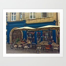 Sunday morning at the Cafe in Strasbourg Art Print