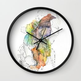 Abstract Portrait Illustration Watercolor Painting  Wall Clock