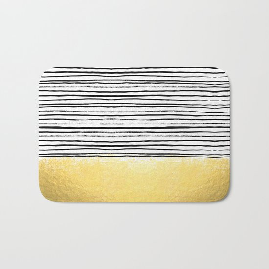 Blaire - Brushed Gold Stripes - black and gold, gold trend, gold phone case, gold cell case Bath Mat