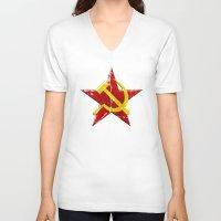 soviet V-neck T-shirts featuring Soviet symbol by Emma Harckham