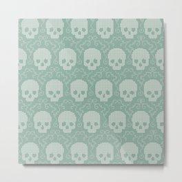 8 Bit Skulls Metal Print