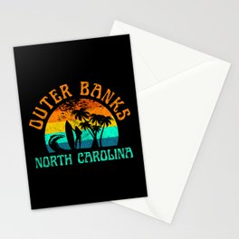 Outer Banks North Carolina Surfer OBX Girl Palm Trees Beach Surfing Vintage Stationery Cards