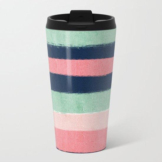 Painted stripe stripes mint navy pink modern color palette painterly minimalist nursery art Metal Travel Mug