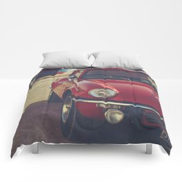 Triumph spitfire, english car by the beach in italy, old car and a boat, for man cave decor Comforters