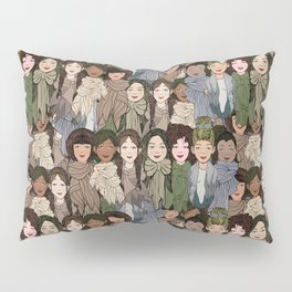 Ladies Wearing Scarves Pillow Sham