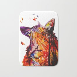 Autumn (The wolf, the deer and the autumn, christmas forest) Bath Mat