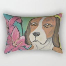"""""""Alyvia"""" Beagle Lily Painting Rectangular Pillow"""