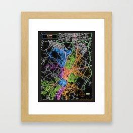 Austin Texas Street Map Poster in Neon Framed Art Print