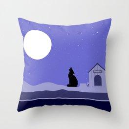 Moon Dog Throw Pillow