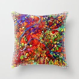Contemporary Paris Street Map by Mark Compton Throw Pillow