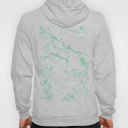 Trendy modern pastel mint green white marble pattern by Girly Trend Hoody
