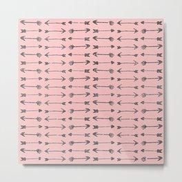 Elegant Printed Girly Pink & Black Glitter Arrows Metal Print