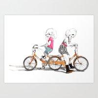 Bicycle girls Art Print
