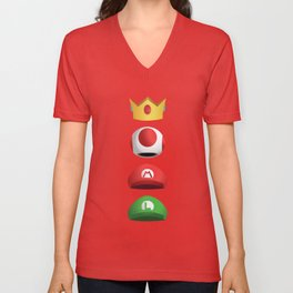 Super Mario Character Hats - White Stacked Unisex V-Neck