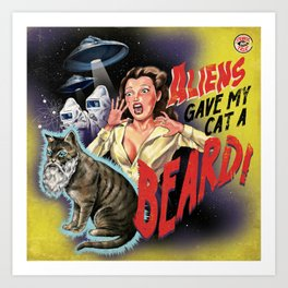 Aliens Gave My Cat A Beard (Yellow) Art Print