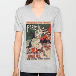Hippodrome De La Porte Maillot Paris Courses 1900 By Jules Cheret | Reproduction Art Nouveau Unisex V-Neck