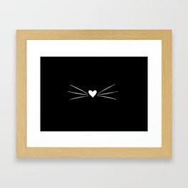 Cat Heart Nose & Whiskers White on Black Framed Art Print