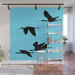 Silhouette of Glossy Ibises In Flight Wall Mural