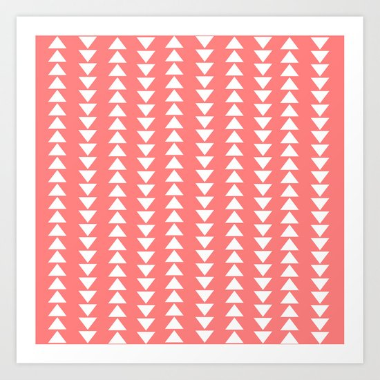 Tribal in Pink & White Art Print