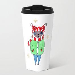 Cute Siamese Cat in Winter Scarf, Hat, Mittens, and Coat Travel Mug
