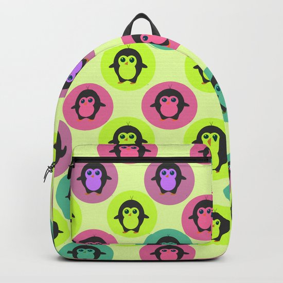 Penguins in colorful bubbles Backpack