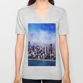Chicago, Illinois Panoramic Art Unisex V-Neck