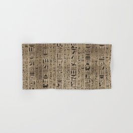 Egyptian hieroglyphs on wooden texture Hand & Bath Towel