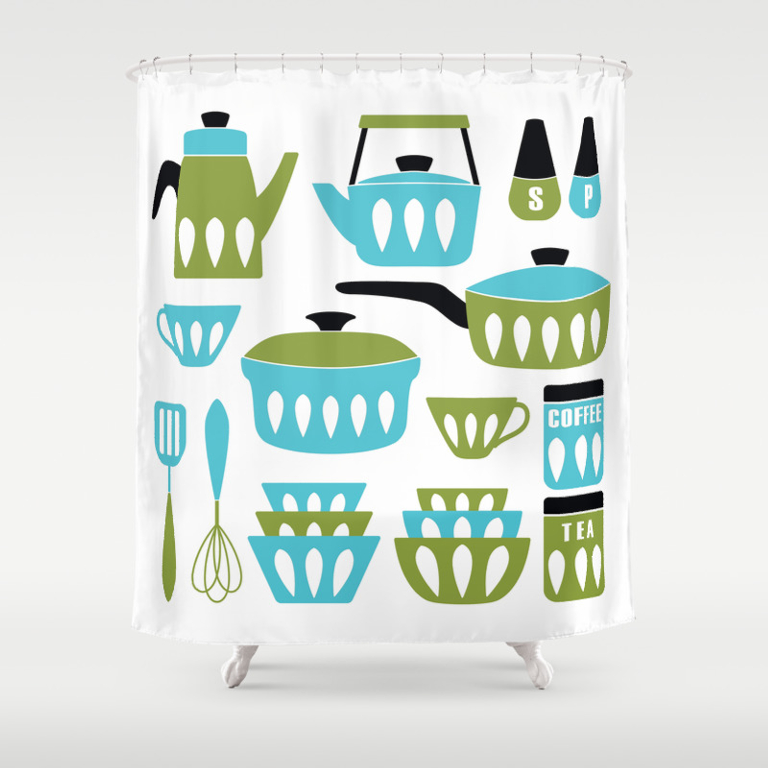My Midcentury Modern Kitchen In Aqua And Avocado Shower Curtain By Sunnybunny Society6