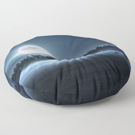When the moon wakes up Floor Pillow