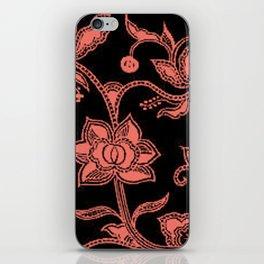 Vintage Floral Peach Echo and Black iPhone Skin