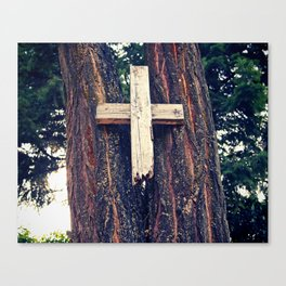 Simple wooden cross Canvas Print