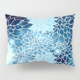 Space Dahlias Blue Ice Pillow Sham