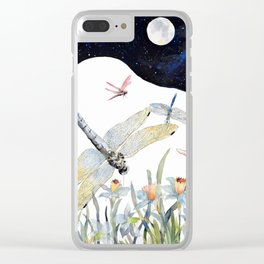 Good Night Surreal Dragonfly Artwork Clear iPhone Case