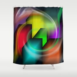 Boxes and lines Shower Curtain