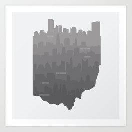Ohio Skylines: Gray Variant Art Print