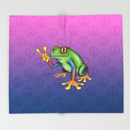 Peace Frog Throw Blanket