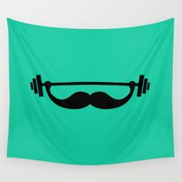 fitness Wall Tapestries featuring Minimal Funny Fitness Mustache / Beard by badbugs_art