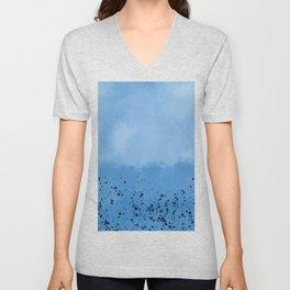 Abstract speckled background - blue Unisex V-Neck