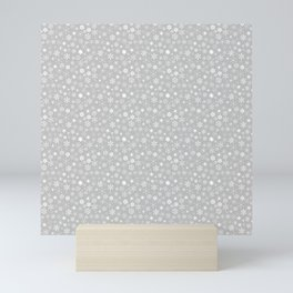 Silver & White Christmas Snowflakes Mini Art Print