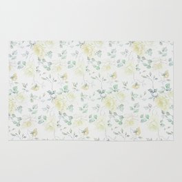 Bohemian baby yellow green vintage roses floral Rug