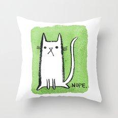 Nope Kitty Throw Pillow
