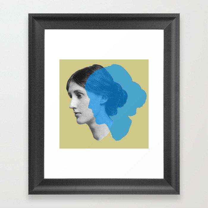 Virginia Woolf portrait green blue Gerahmter Kunstdruck