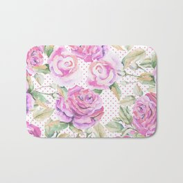 Watercolor hand painted pink lavender roses polka dots Bath Mat