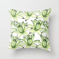 succulents Throw Pillows featuring Succulents by Julia Badeeva