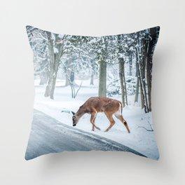 snow deer Throw Pillow
