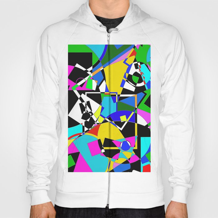 Colour Pieces - Geometric, eclectic, colourful, random pattern of shapes Hoody