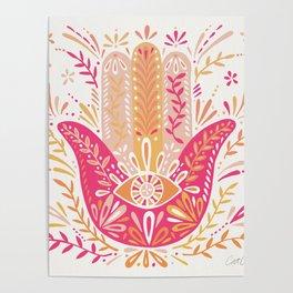 Hamsa Hand – Pink & Peach Palette Poster