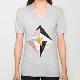 Elegant geometric marble and gold design Unisex V-Neck