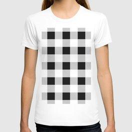 western country french farmhouse black and white plaid tartan gingham print T-shirt